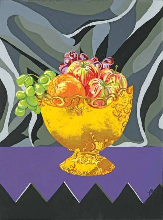 Funky Fruit Bowl - I searched for this fruit bowl in my mother's loft. I remembered how much I admired it on my Grandmother's dining table and knew that one day I would paint it. Twenty years later I did just so, filling it with fruit and creating a fun 'pop art' like image.