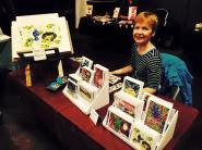 Selling prints and cards at Clutter City.