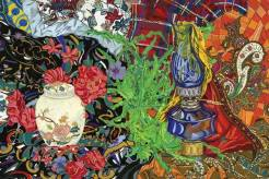 Oil Lamp with Scarves - This still life combines the old and new together. The oil lamp sits amongst numerous scarves and the china pot stands out from the black floral background. There are so many patterns combined here, that each time you look at it there is something new to see.