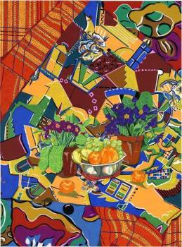 Still life with bowl of fruit - Fruit and Primula's set off this lively still life. They are surrounded by a fabric that I designed, following a holiday in Bermuda consisting of images of the buildings that I saw while I was there.
