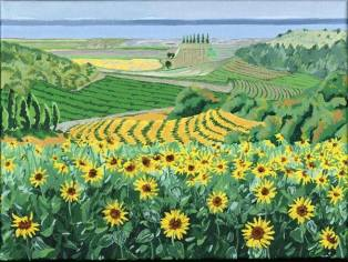 View to the Gironde - This scene in the south west of France stopped me in my tracks. I could not believe my eyes as it was a view just waiting to be painted.