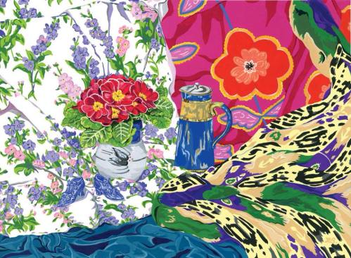 Primula with China Shoes - Original SOLD prints still available. Beautiful fabrics, with rhythmical patterns and decorative objects combine to produce this energetic still life.