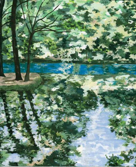 Fontaine-Bleu No.2 - Here I was taken by the reflection of the rich green foliage in the water, using a palette knife to create the textures.