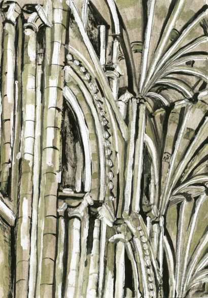Knave Vaulting - Norwich Cathedral No.2 - Using masking fluid I wanted to project how light touching the stone played a part in producing energetic rhythms and contrasting shapes.
