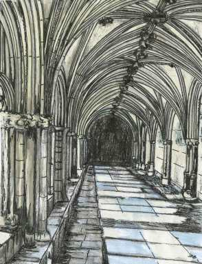 Cloisters - Norwich Cathedral No.2 - I have used watercolour and ink washes of just two colours, in order to express the tranquil atmosphere of this special place.