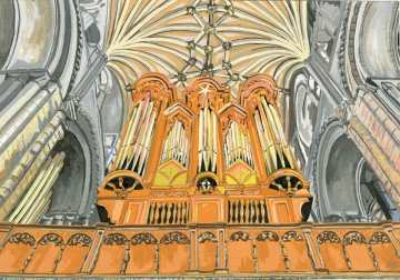 Pipe Perspective - Norwich Cathedral - This is a viewpoint looking up at the statuesque organ that is reaching up to the elaborately patterned ceiling. It is a celebration of the grandeur and powerful presence of this stunning Instrument.